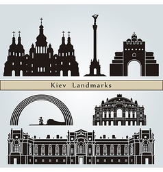 Kiev landmarks and monuments vector