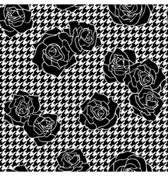 Roses with houndstooth background vector