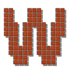 Letter w made from realistic stone tiles vector