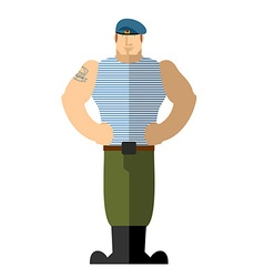 Russian soldiers military man in t-shirt and blue vector