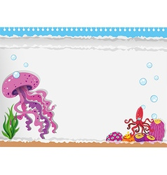 Paper design with jellyfish underwater vector