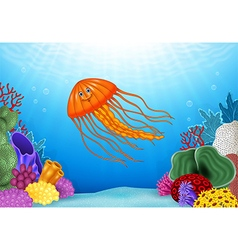 Cartoon jellyfish with beautiful underwater world vector image