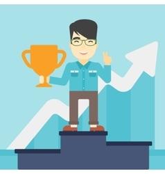 Businessman proud of his business award vector