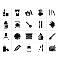 Black Make-up and cosmetics icons vector image vector image