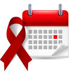 Burgundy awareness ribbon and calendar vector