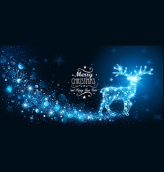 Christmas card with silhouette magic deer vector