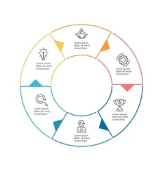 Circular chart diagram with 6 steps options vector