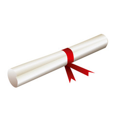 color diploma with red ribbon icon vector image