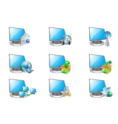 computer and icons vector image