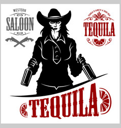 Cowgirl with bottle tequila - picture vector