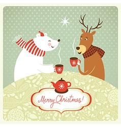 Deer and bear drink hot tea vector