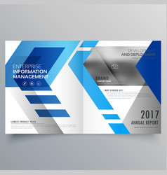 Elegant blue bifold brochure design template or vector