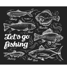 Fishing Hand drawn sketch fish herring trout vector image vector image