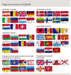 Flags of countries of europe big flag set vector