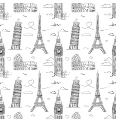 Hand drawn seamless pattern with sights of Europe vector image vector image