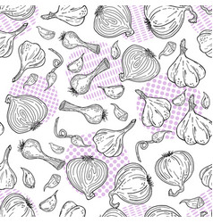 hand drawn sketch style garlic pattern vector image