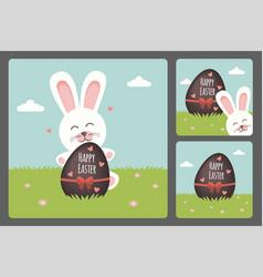 Happy easter bunny set vector
