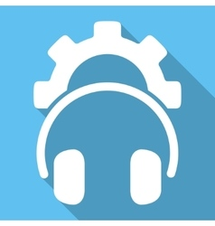 Headphones configuration flat square icon with vector