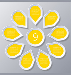 Infographic yellow points arranged in sun circle vector
