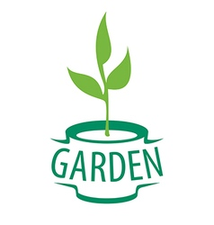 Logo sapling in a pot for the garden vector