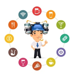 Manager with Blue Beer Helmet on His Head vector image vector image