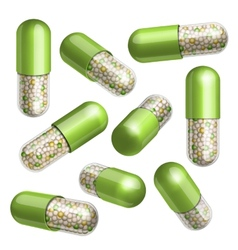 Medical green capsule with granules vector