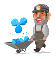 miner and ripple mineral cryptocurrency sign and vector image vector image