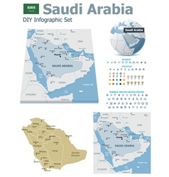 Saudi arabia maps with markers vector