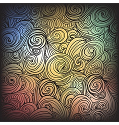 Seamless dark abstract hand-drawn waves pattern vector image vector image