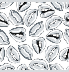 Seamless pattern with silver lips vector