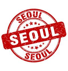 Seoul red grunge round vintage rubber stamp vector