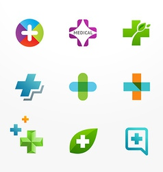 Set of medical logo icons with cross and plus vector