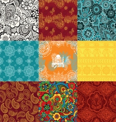 Set patterns with Indian ornaments vector image