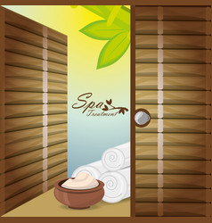 Spa with message product and towels vector
