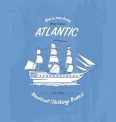tee print marine ship or sea transport t-shirt vector image