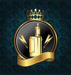 vape shop golden sign vector image
