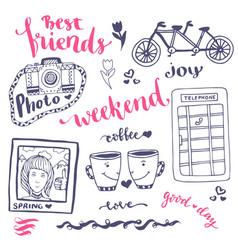 Weekend sketch art romantic set of hand drawn vector