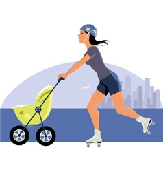 Young mother roller skating with a stroller vector image vector image