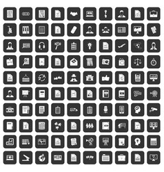 100 work paper icons set black vector