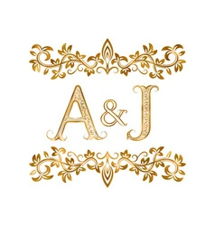 AJ vintage initials logo symbol Letters A J vector image