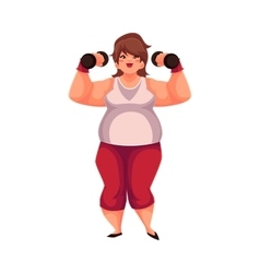 Fat woman training with dumbbells doing vector