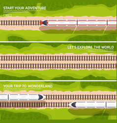 Travel by train railway stationsummer vacation vector