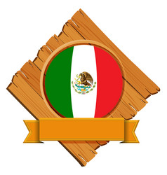 Flag of mexico on wooden board vector