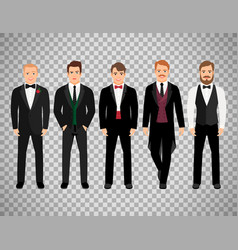 Fashion business men on transparent background vector