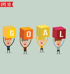 Business man showing goal box - - eps10 vector