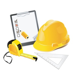 Construction concept helmet pencil and rulers vector