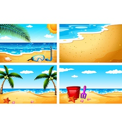 Four beach sceneries vector