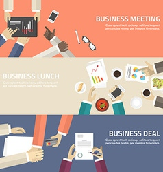 Flat design concept for business meeting lunch vector image