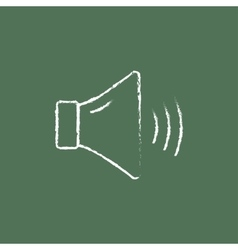 High speaker volume icon drawn in chalk vector