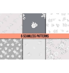 Set of six black and white floral patterns vector